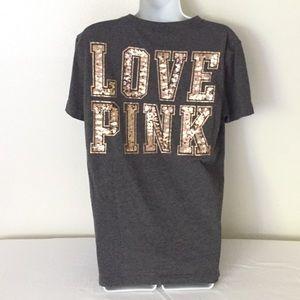 NWOT Pink VS gray & copper logo T-Shirt, size XS